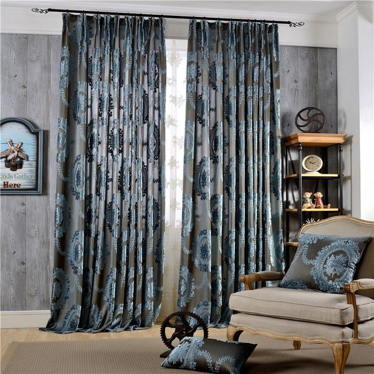 Top Quality luxury elegant hot sell thick heavy jacquard velvet ready made home room window curtains for living room bedroom