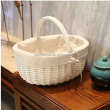 eco-friendly handmade white wicker shopping basket wicker egg basket fruit basket with handle