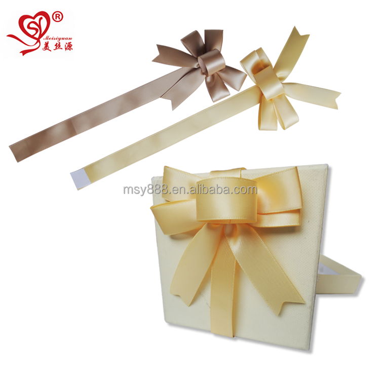 Hot Sell Single Face 10cm Pre made Self Adhesive Satin Ribbon Bows For Chocolate Box