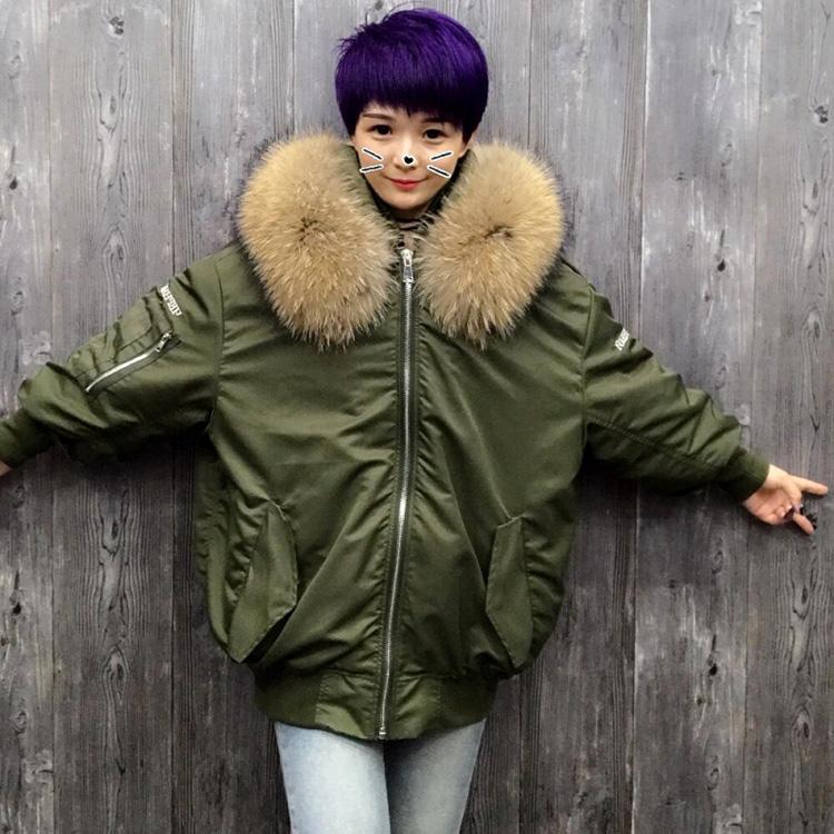 2017 nouveau style vers le bas plume femmes hiver veste fourrure de raton laveur bomber <span class=keywords><strong>jacke</strong></span>