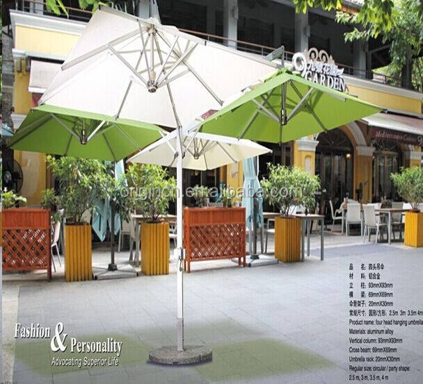 4 head designed extra large outdoor dining use waterproof patio furniture cafe umbrella