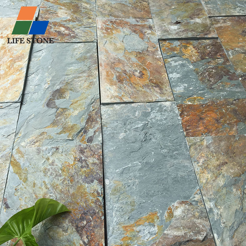 Factory direct sales green natural stones tiles slate flooring flagstone