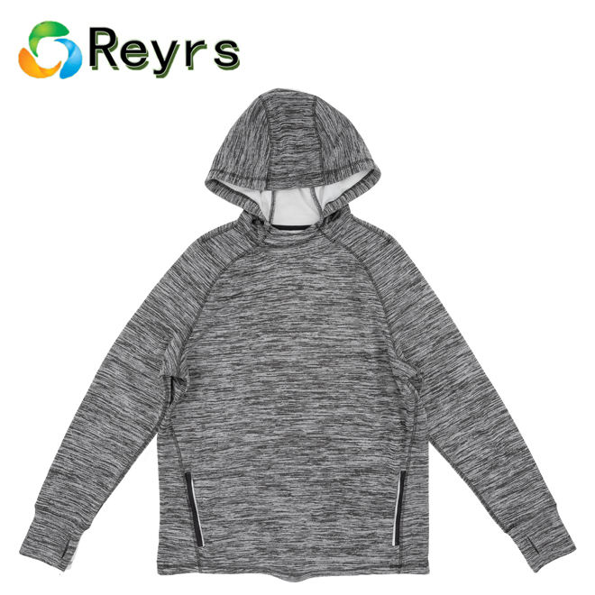 Reyrs Men's Thermal Running Shirt Grey Sports Wear Men's Coat w/Hood