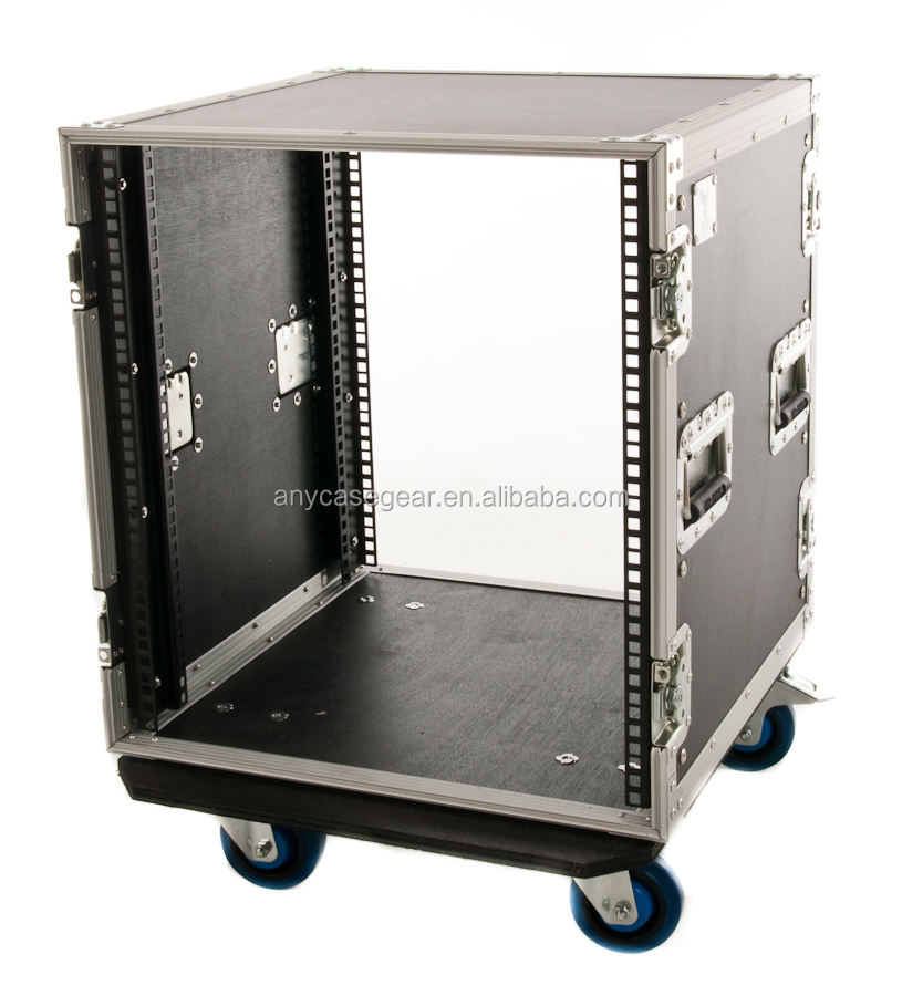 12u rack case with 4 wheels/12u amp rack case/road ready flight cases