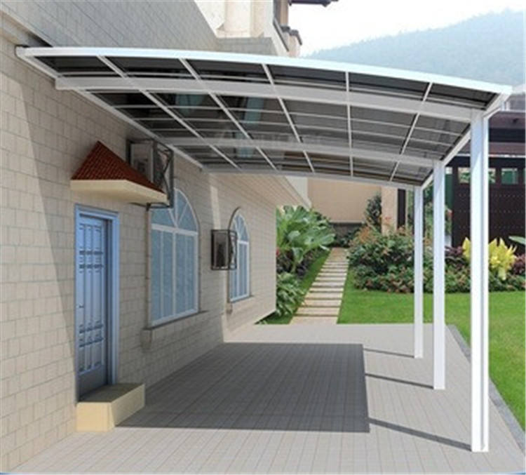 Metal shelter polycarbonate carport for two cars