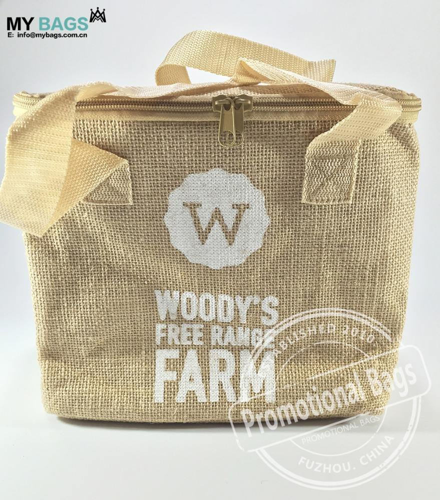 reusable personalize custom wholesale jute burlap hessian cool bag hessian chiller bag