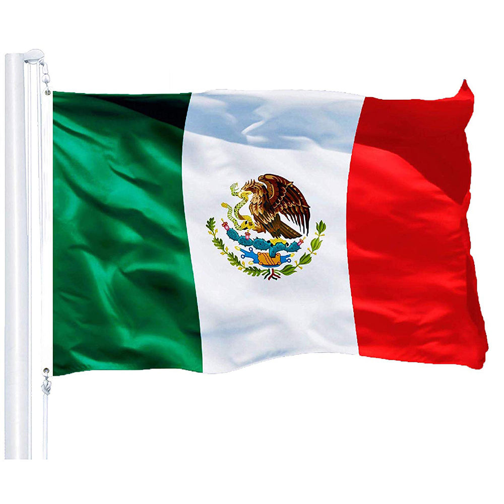 Hot Wholesale Mexico National Flag 3x5ft 90X150CM Banner green white red Mexican Flag Polyester