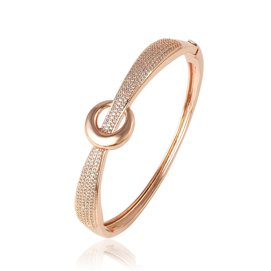 51973 Xuping popular ladies jewelry simply design zircon pave set rose gold color bangle set