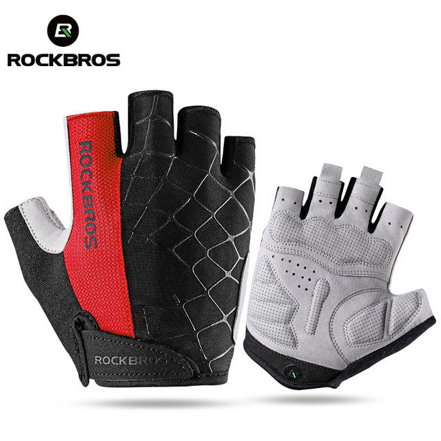 ROCKBROS Men's Cycling Bike Half Finger Gloves Shockproof Breathable MTB Mountain Bicycle Gloves Sports Unisex Cycling Gloves