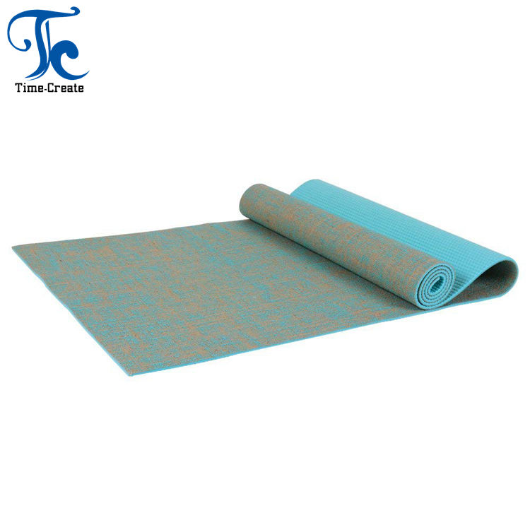 Timecreate 5mm Eco Anti Slip natural rubber Hemp And Jute Exercise Yoga Mat Manufacturer