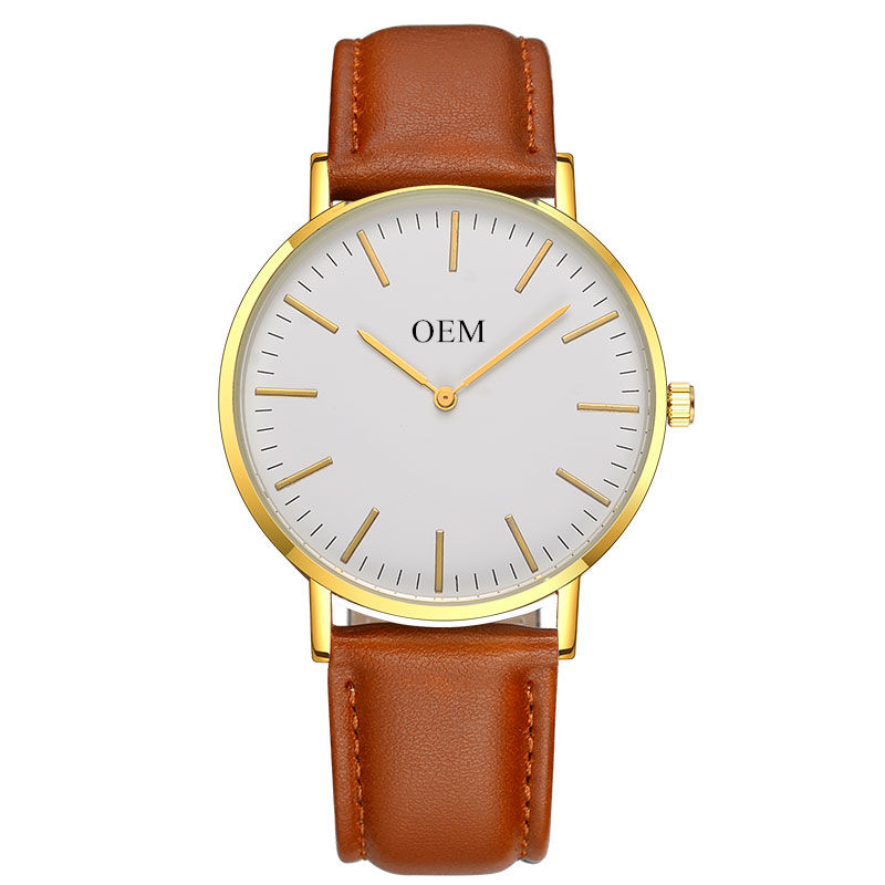 Minimalist Custom Your Logo Watches Cheap Classic Watches Men Women Gold Vegan Leather Quartz Alloy OEM Wrist Watches