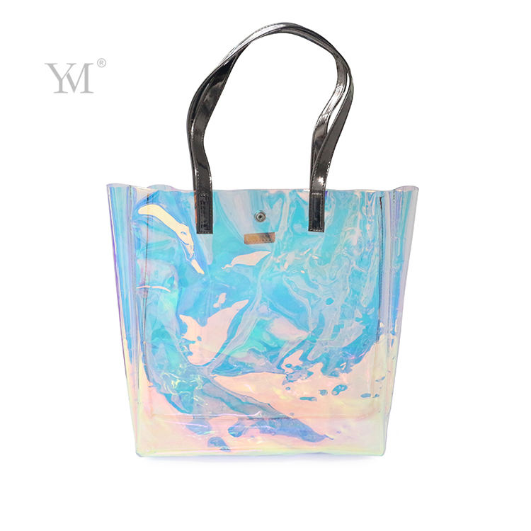 Luxury Women Travel Pvc Shopping Handbag Waterproof Clear Pvc Tote Bag Zipper