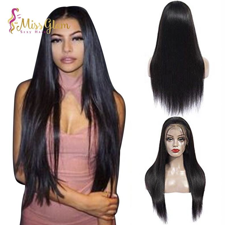 free sample Unprocessed Indian silk base lace frontal wig wholesale natural black hair straight silk top base lace front wig