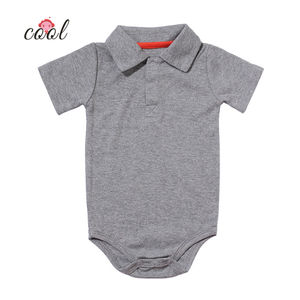 Wholesale newborn baby clothes romper summer cotton short sleeve baby boy clothes romper polo baby clothes with snap button
