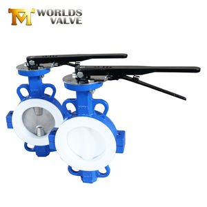 Cast iron PTFE lined body water wafer type butterfly valve price