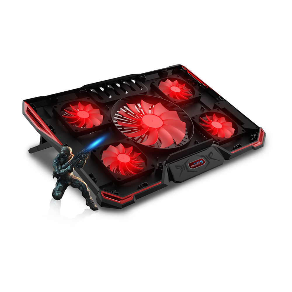 Bestseller Laptop Cooling Pad Vijf Fan USB Powered Notebook Cooler Mat Met Game Weaving Lijn