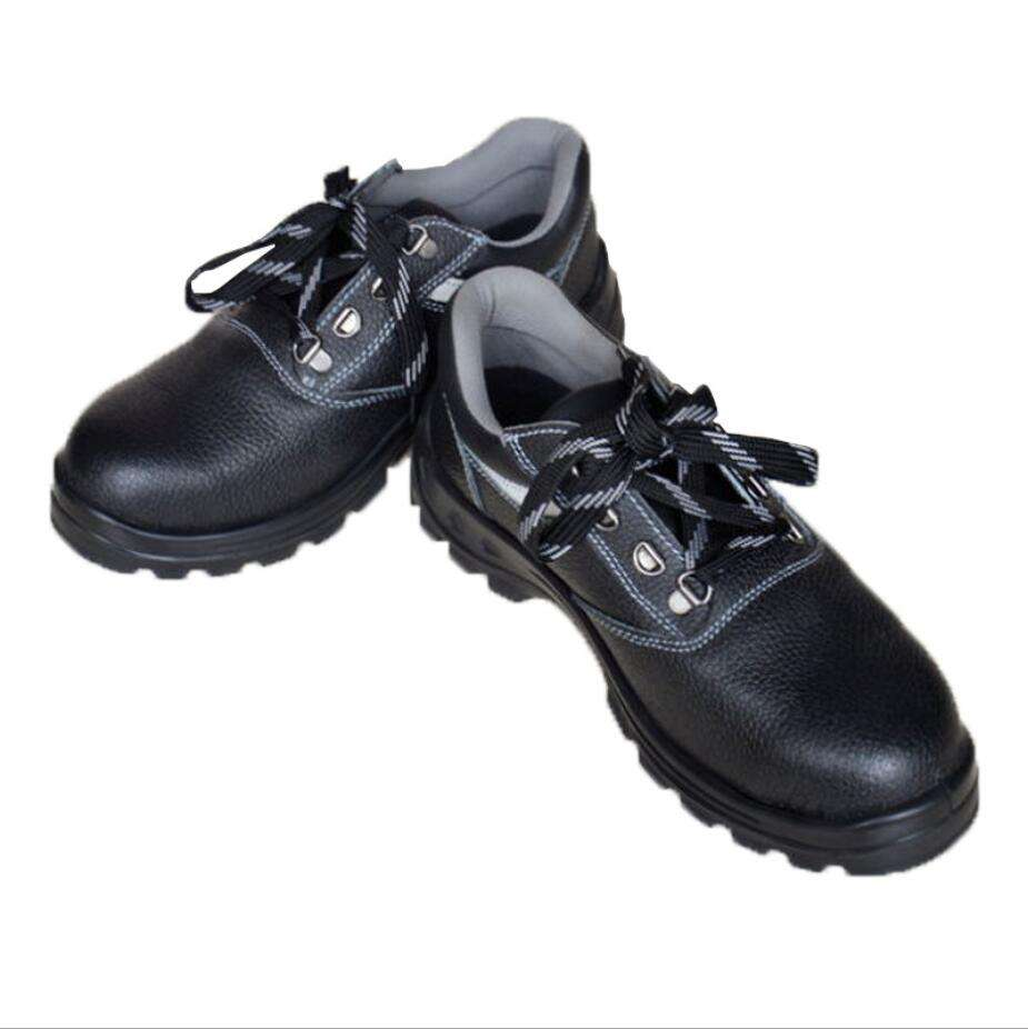 Black genuine leather steel toes anti-smashing anti puncture breathable shoes for summer
