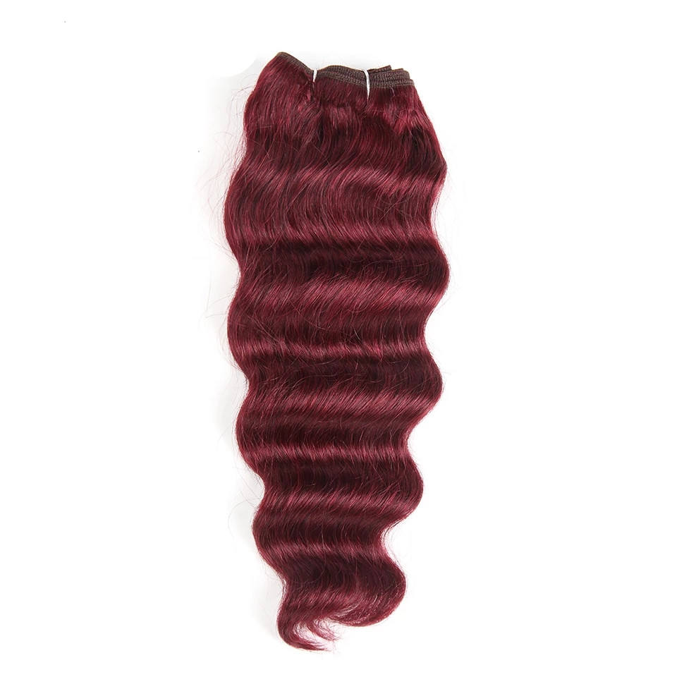 Deep Wave Human Hair Bundles Brazilian Natural Deep Wave Color Remy Hair #27 #30 #99J #Burgundy Red