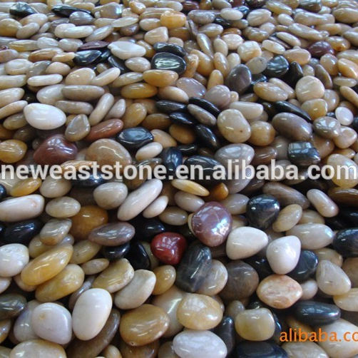 China mix color polished pebble stone natural stone for garden