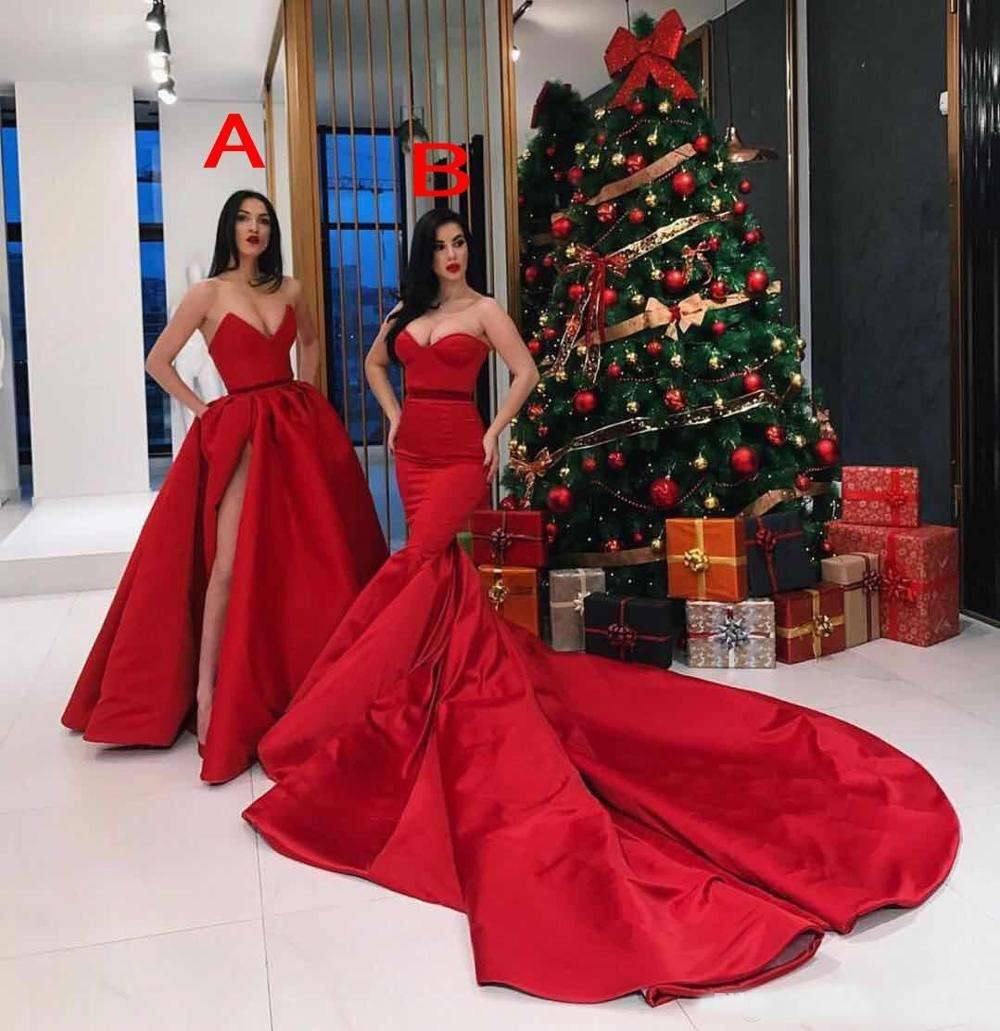 Red Prom Dresses 2020 Elegant Evening Gowns Long Wedding Party Guest Wear Garment