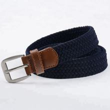 Single Pin Buckle Leather Trimming Elastic Casual Belts