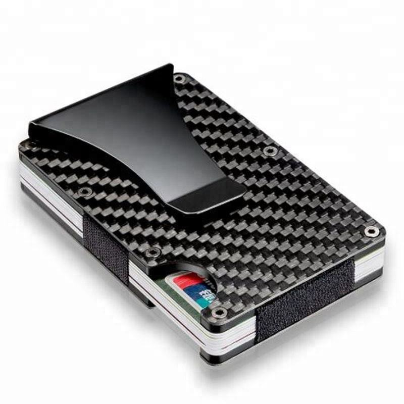 Ultra Thin Metal Wallet/RFID Blocking Credit Card Holder/Slim Carbon fiber Card Case for Travel and Work