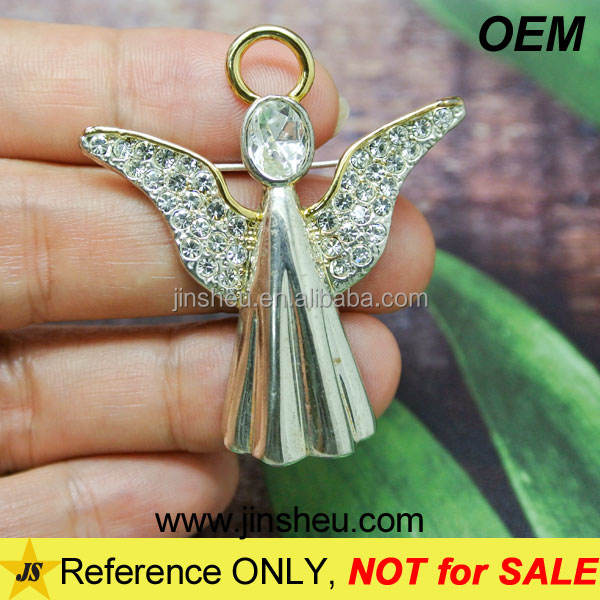 Cheap Custom Elegant Rhinestone Silver Guardian Angel Charm for Necklace