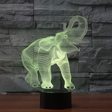 3D illusion elephant led deco night light of changing color table lamp FS-3698