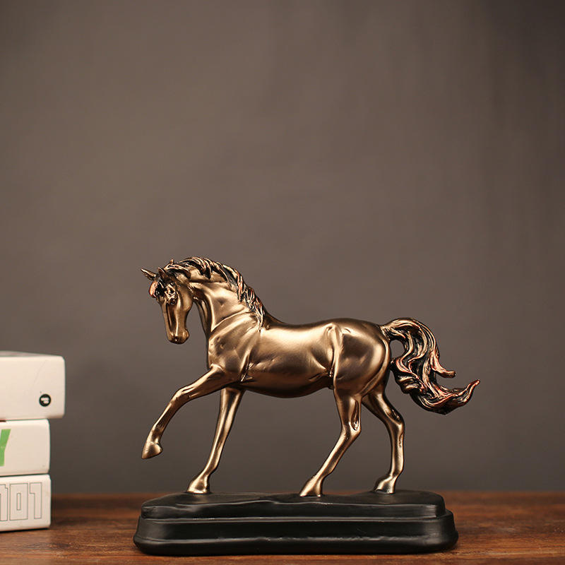 Customized resin golden horse figurine statue resin craft for home decor