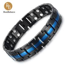 RunBalance  Mens Stainless Steel Magnetic Therapy Bracelet Double Strong Magnets Arthritis Pain Relief, Black&Blue