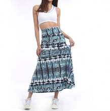 Factory Sale Cheap High Elastic Waist Women Blue Tribal Tie Dye Printed Long Skirt