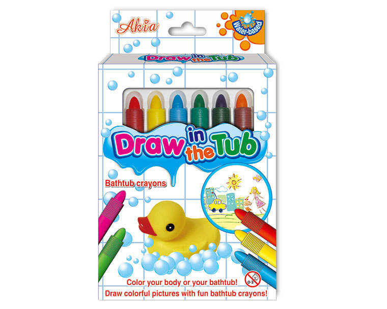 AKIA Wholesale EU and US Standards Draw in The Tub Bath Crayon for Kids Non Toxic 6 Colors Set Grease Pencil 6colors