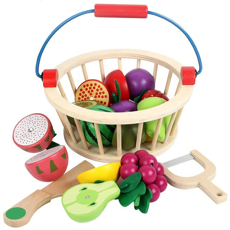 custom Magnetic Pretend toy wooden fruit vegetable food cutting toy