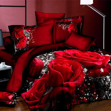 Wholesale Luxury Home Textile Wedding Red Rose Cotton Duvet Cover , Quilt Sheet Set , Bedding Sets