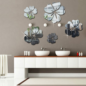 Self-adhesive home decor 3d flower mirror sticker