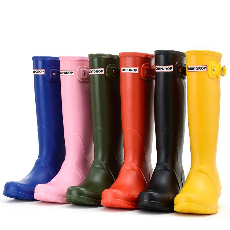 Hotsale unique fashion design varies color tall patent with buckle women lady's PVC wellington gum boots rubber rain boots