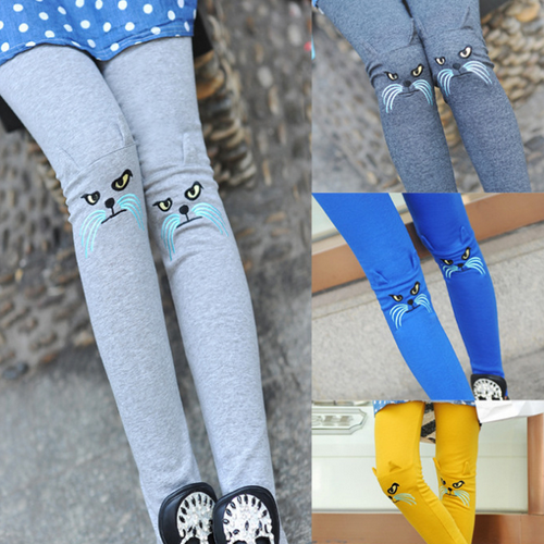 China manufacture korean winter warm lady personality pantaloon slim printed sexy sweet embroidery girls cotton cat leggings
