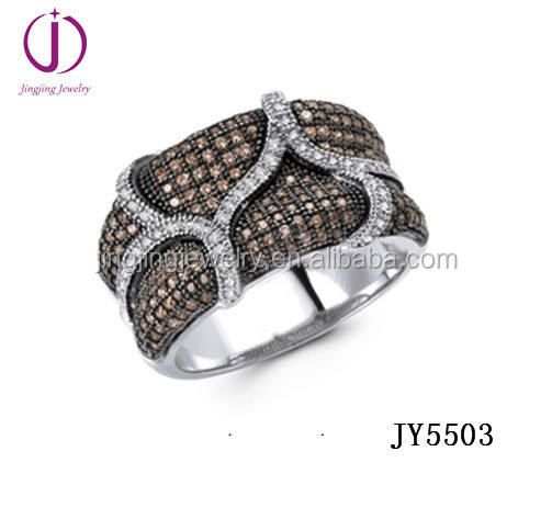 925 sterling zilver micro pave cz golvende ring