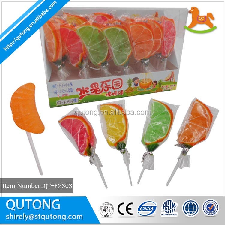 Oranje Slice Vormige Zoete Jelly Pop Candy