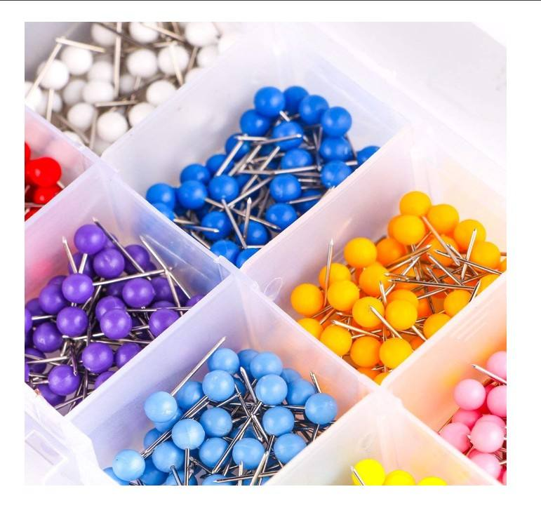 ,1/8 inch Round head with Stainless Point Multi-color Push Pins Map tacks
