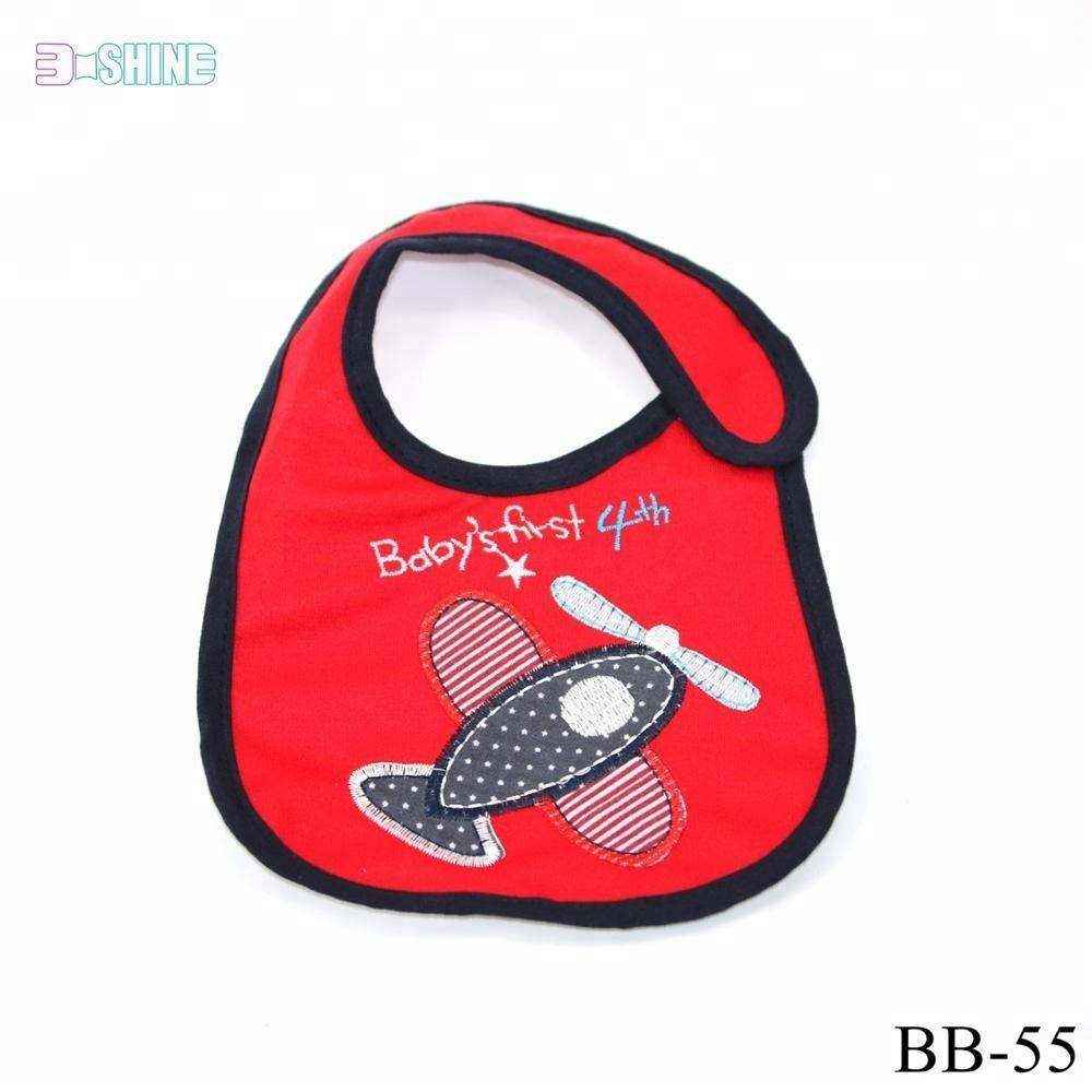 waterproof printed & embroidery red cotton baby's first 4th baby bib bandana