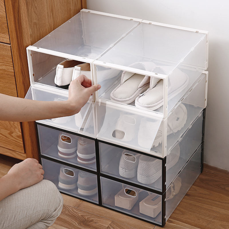 Custom high quality mildewproof organizer shoe drop box under bed PP plastic clear eco friendly transparent shoe storage box