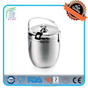 Custom beer stainless steel metal ice bucket set with ice bucket with lid and tongs