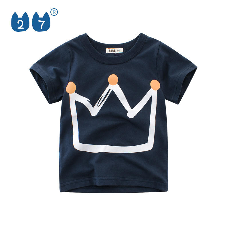 100% Real photo Korean style crown print round neck boys t shirt for children