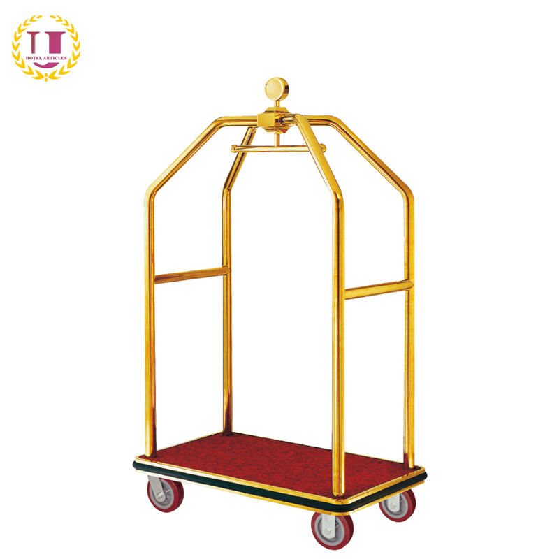 Golden Plated Hotel Bell Boy Luggage Trolley for Sale