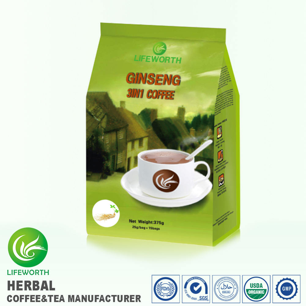 Lifeworth 2017 hot sale instant 3 in 1 malaysia ginseng coffee for health care