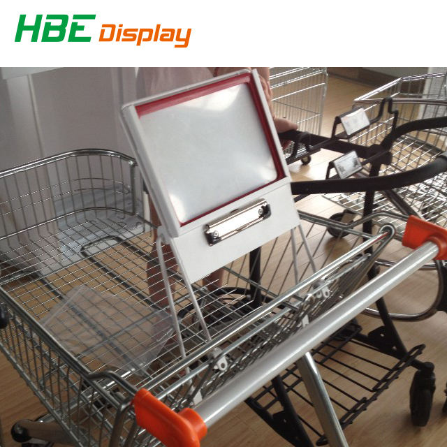 supermarket shopping trolley cart advertising board with shopping list clip