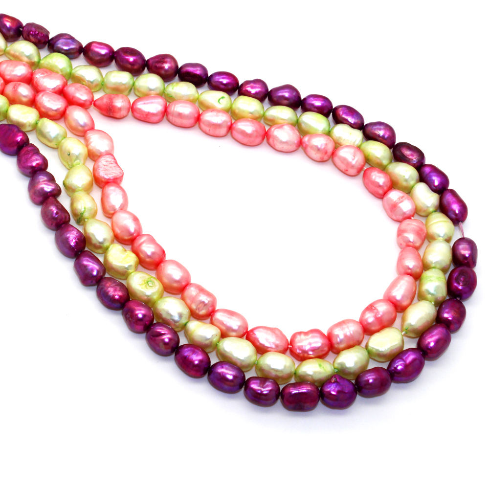 40pcs AA 6-10mm oval shape fresh water red purple green loose pearls by strand