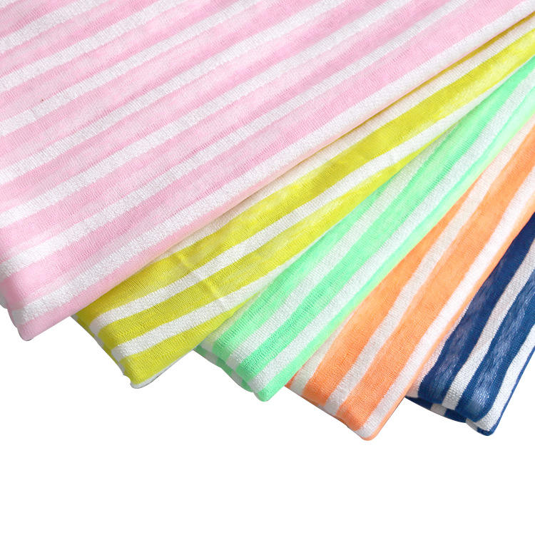 sun-proof clothing available colors polyester rayon stripe yarn dye jersey fabric