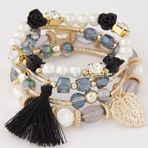 Fashion Pearl Jewelry Multi Layer Elastic Tassel Charms Bracelets & Bangles For Women Flower Pulseras Joyeria